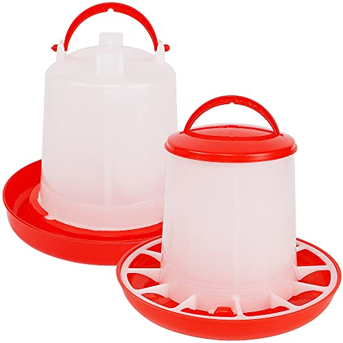 winemana Chick Feeder 1 Lb and Waterer 1.5 L Kit, Hanging Poultry Plastic Containers Combo for Outdoor