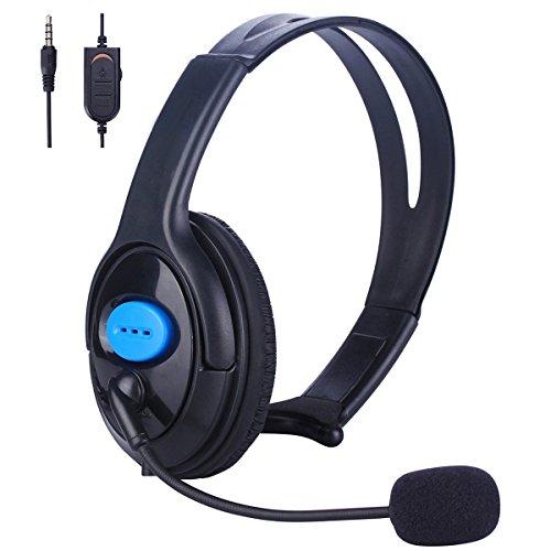 Joso PS5 PS4 einseitiges Headset, 3,5 mm kabelgebundene Online-Gaming-Kopfhörer mit Mikrofon für Sony Playstation 5 4, PS4 Pro PS4 Slim Controller, Nintendo Switch, Laptop, Smartphone, Büro Business