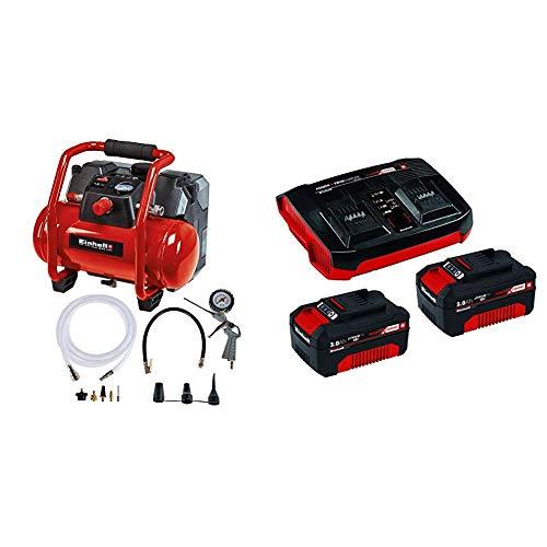 Einhell Compresor con batería + Kit de iniciación PXC 2 x 3,0 Ah y el kit de cargador doble + Grapadora de Aire comprimido