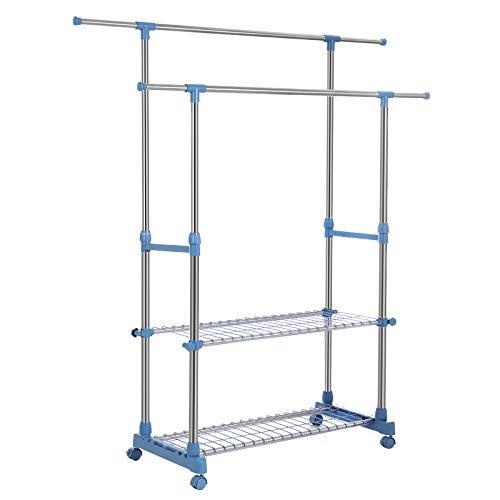 SONGMICS Riel Dual de Ropa, Perchero Extensible con Estantes de Almacenamiento, Rieles Colgantes Rodantes, Tubo Revestido de Acero Inoxidable, (90-154) x 42 x (95-172) cm, Plata y Azul Piedra LLR03GB