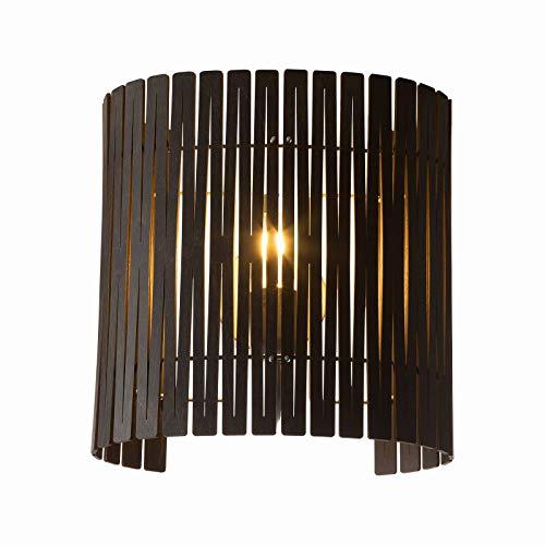 Kerflights houten wandlamp bruin | Handgemaakt in Nederland | Wandlamp Design dimbaar | Lamp E27