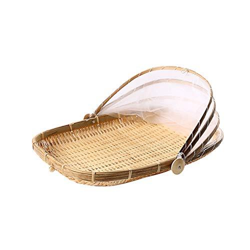 Kongnijiwa Anti-Insekt Staubdichtes Korb Obst Gemüsefach Mesh-Trocknen Trocknen Kehrschaufel, handgemachte Bambus Besen und Kehrblech Handgefertigte Bambus Food Storage Basket