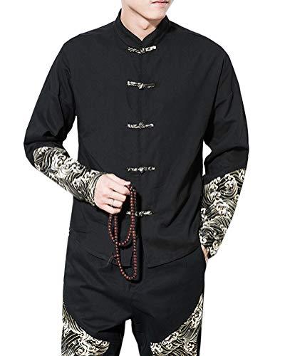 Aden Herren Hanfu Hemd Tang-Anzug Chinesischen Stil Kungfu Jacken Langarm Tai Chi Uniform