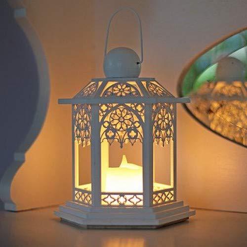LED houten lantaarn wit batterij 270-14