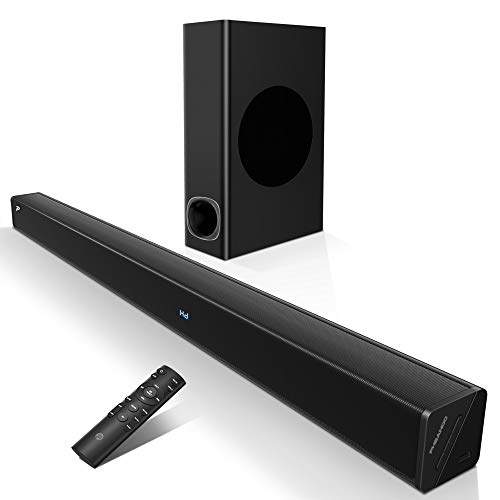 Sound Bar with Subwoofer, TV 2.1 CH Soundbar, Superior Surround Sound System, Works with 4K & HD & Smart TV,Bluetooth 5.0 Enabled (Model: P27, 120W)