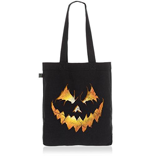 style3 Halloween Kürbiskopf Biobaumwolle Beutel Jutebeutel Tasche Tote Bag, Farbe:Schwarz