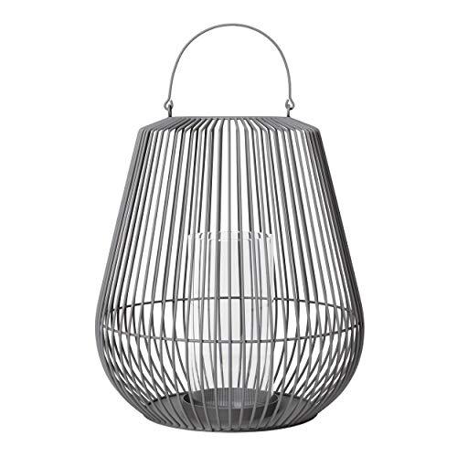 Blomus Laterne NIDEA medium, Windlicht, Kerzenhalter, Stahl pulverbeschichtet, Glas klar, steel gray, 65982