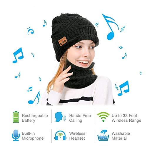 MAODOU Bluetooth Beanie Knit Hoed Sjaal Set Stereo Luidspreker Microfoon Headset Oortelefoon Draadloze Warm Muziek Cap Winter Outdoor Sport Skiën Camping Wandelen Fietsen Mannen Vrouwen