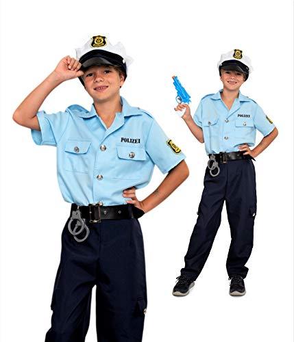 Magicoo Polizei Kostüm Deutschland Kinder Jungen - Gr 104 bis 146 - Fasching Polizist Kostüm Kind (116/122)