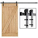 SMARTSTANDARD 8ft Heavy Duty Sturdy Sliding Barn Door Hardware Kit - Smoothly and Quietly -Easy to Install -Includes Step by Step Installation Instruction-Fit 42'-48'Wide Door Panel (I Shape)