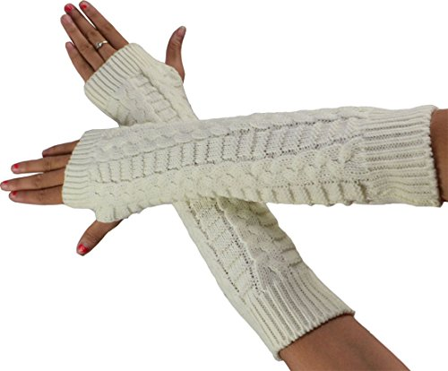 SYAYA Women Knitted Stretchy Fingerless Cold Weather Gloves Long WST05 (01)