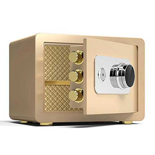 Safes Mechanical Password, Steel Fireproof, Waterproof and Anti-Theft Safety Cabinet, Home Office Cash Document Voucher Storage Box, Gold, 3 Sizes (Size : 30x38x30cm)