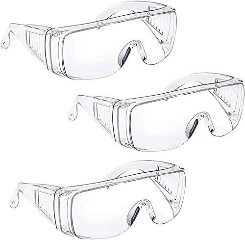 Schutzbrille über Brille - Tavool Antibeschlag-Schutzbrille Augenschutz mit klarer Sicht, Kratzfest und UV-beständiger Labor Schutzbrille für Brillenträger Männer Frauen Clear 3er Pack