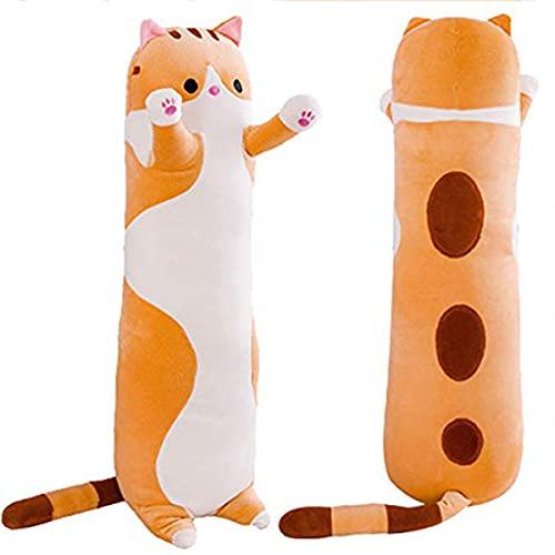 ZHKXBG Almohada de Felpa de Gato, Almohada para Dormir Suave de Tiro Largo, Almohada de algodón para abrazar Gatito, Regalo para Novia de niños,Amarillo,150cm