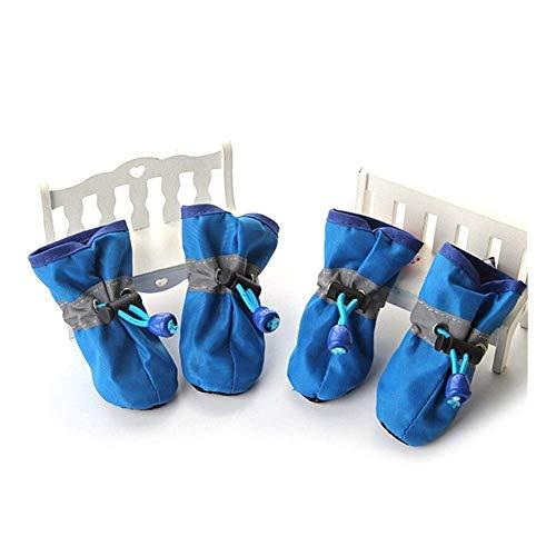 Dog Boots 4pcs / set 7 Größen Nylon Baumwolle Pet Hundeschuhe Wasserdichte Anti-Rutsch-Winter-Hund Regen-Schnee-Aufladungen Schuhe for Welpen Kleine Hunde Katzen #HJ (Farbe: Dunkelblau, Größe: 3) liuc