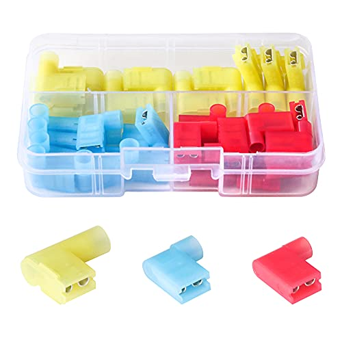 PONFY 35PCS Nylon Insulated Flag Spade Quick Disconnects Female Wire Connector 90 Degree Electrical Crimp Terminals Connector Assortment Set 22-18 16-14 12-10 Gauge