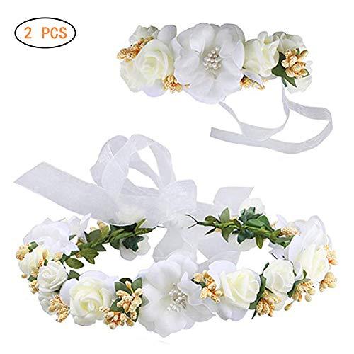 Surenhap Bloemenkrans, haren en arm, haarsieraad voor bruiloft, bloemenkroon met armband, voor strand, bruiloft, bruid, fotografie, party, moederdag