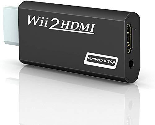 Wii zu HDMI Adapter,OMENT Wii to HDMI 720/1080P HD Converter Adapter mit HDMI-Anschluss und extra 3,5mm Buchse Audioausgang für Wii Monitor Beamer Fernseher