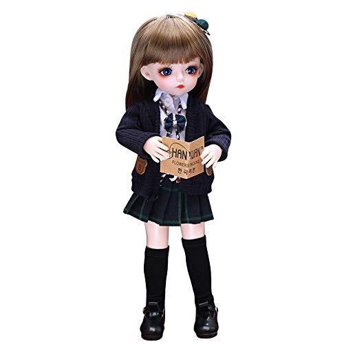 Puppe 1/6 BJD Puppe, 30 cm, 18 Kugelgelenke, Puppen mit komplettem Outfit, Kleidung, Set, Perücke, Make-up, handgefertigt, Beauty-Spielzeug, Geschenke für Mädchen (Farbe: 0001BV12004)