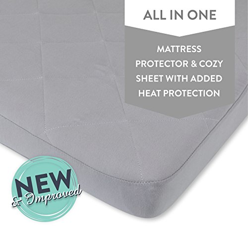Ely's & Co. Waterproof Cotton Quilted Pack n Play Sheet | Mini Crib Sheet | New Revised Fit with Added Heat Protection |All in one Mattress Pad Cover and Cozy Sheet, Grey