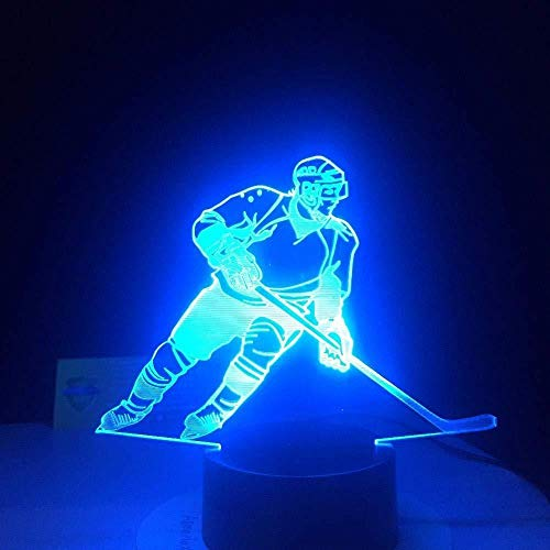 3D Night Light 3D LED Ice Hockey Player Table Lamp USB Visual Luminaria Bedside Night Lights for Kids Gifts Baby Sleeping Lighting Sports Decor redlllll
