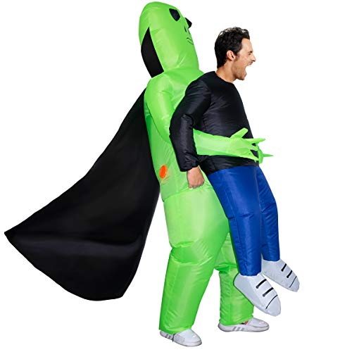 funny halloween costumes Evoio Inflatable Alien Costume for Adult Funny Halloween Costumes Cosplay Fantasy Costume (with Cloak)
