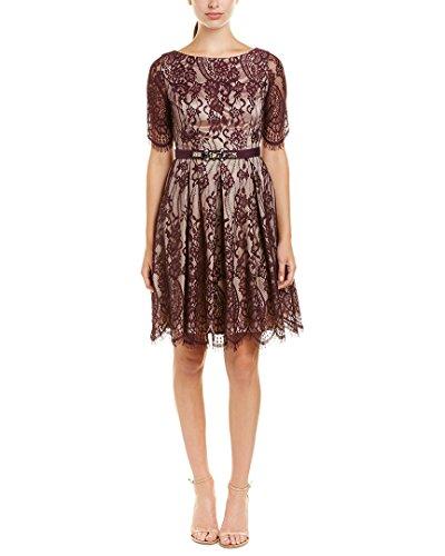 Eliza J womensEJ6M3650Lace Fit & Flare Dress with Elbow Length Sleeve Short-Sleeve Dress - Purple - 10