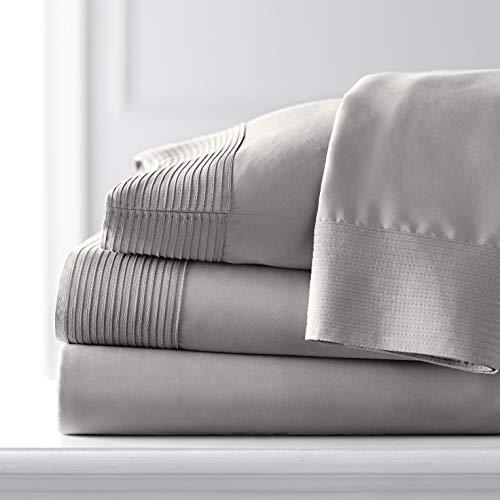 Southshore Fine Living, Inc. Vilano Pleats, 3-Piece, 21-Inch Extra Deep Pocket Sheet Set, Premium Quality, Easy Care, Shrinkage Free, Sheet Set, Steel Grey, Twin XL