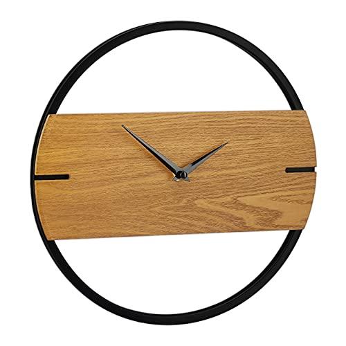 Relaxdays Reloj de Pared con Aspecto de Madera, Moderno, analógico, para Cocina, salón, Pasillo y Oficina, diámetro de 30 cm, Color marrón/Negro