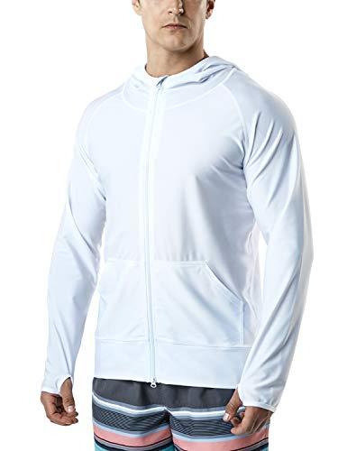 TSLA Men's UPF 50+ Long Sleeve Sun Protection Hoodie, Zip Front Performance UV/SPF Shirt, Lightweight Running Fishing Shirts, Msz05 1pack - White, L