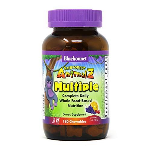 Bluebonnet Nutrition Rainforest Animalz Whole Food Based Multiple Chewable Tablet, Kids Multivitamin & Mineral, Vitamin C, D3, Iron, Gluten Free, Milk Free, Kosher, 180 Chewable Tablets, Mixed Flavor