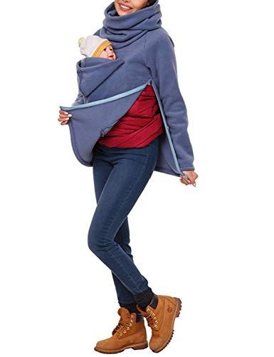 Haut De La Femme pour Les Femmes Enceintes Vêtements Mode Vintage Manches Longues Solide Couleur Maternité Porter Élégant Porteur Allaitement À La Mode pour Maman Et Bébé (Color : Blau, Size : XL)