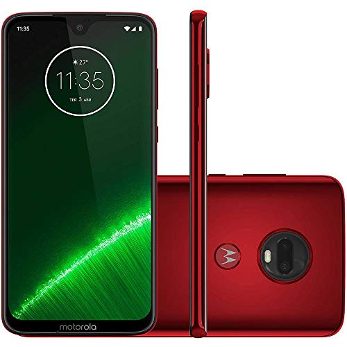 Motorola Moto G7+ Plus (64GB, 4GB RAM) Dual SIM 6.2' 4G LTE (GSM Only) Factory Unlocked Smartphone International Model, No Warranty XT1965-2 (Red)
