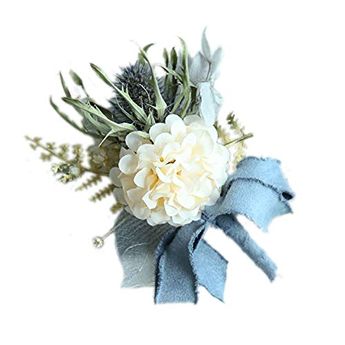 MYW Handgemaakte Pols Bloemen Bruiloft accessoires Prom Set Decoration Corsage Hand Flower Decoration (Color : Blue, Size : Corsage+Wrist flower)