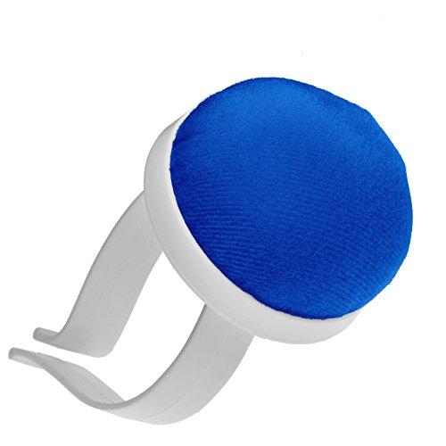 Nadelkissen für das Handgelenk, Farbe: blau, mit Armspange aus Kunststoff