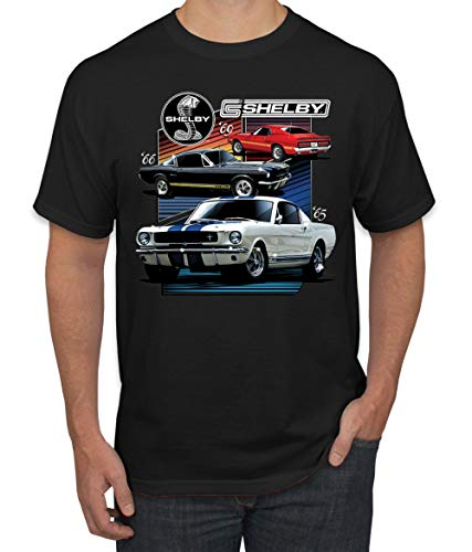 Shelby 65 Powered by Ford Motors Mustang Logo Emblem | Mens Cars and Trucks Graphic T-Shirt, Black, X-Large
