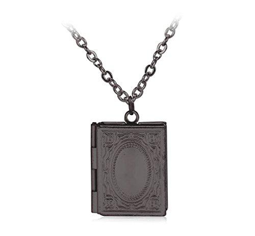 Beydodo Collana Placcato Oro Collana con Portafoto Locket Nero Collana Medaglione Ciondolo Libro Gioielleria Commemorativa