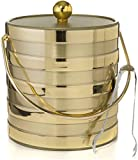 Matte/Shiny Brushed Gold Stripes Double Walled 3-Quart Insulated Ice Bucket and Ice Tongs