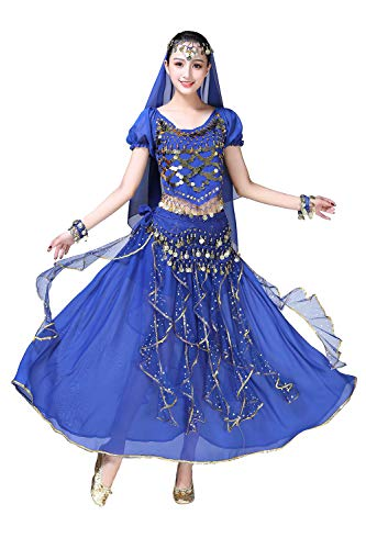 ORIDOOR Women Belly Dance Dress Indian Bollywood Halloween Costume Chiffon Skirts Shiny Belly Dance Suits 5-Piece Outfit, 004 Royal Blue, One Size