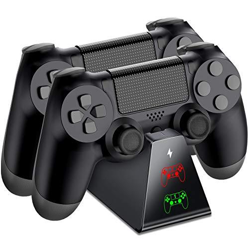 BEBONCOOL PS4 Controller Ladestation, PS4 Ladestation Controller Ladegerät Ständer mit LED Anzeige und Micro USB Kabel Zubehör Kompatibel mit Sony Playstation 4/PS4 Slim/PS4 Pro Wireless Controller