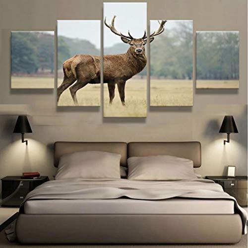HSDVJZC HD-druk, 100 x 55 cm, moderne 5-delige dierenhertendoek-schilderij HD Modular Poster Print Painting Home Decoration muurkunst