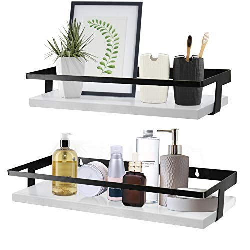 Y&ME YM White Bathroom Floating Shelves Set of 2, Decorative Wood Wall Storage Shelves, White Floating Shelves with Black Metal Frame Perfect for Kitchen, Bathroom