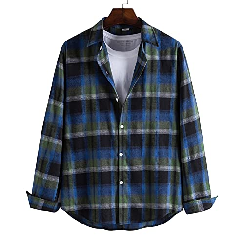 SSBZYES Camisa para Hombre Camisa De Manga Larga con Capucha Camisa Casual De Manga Larga a Cuadros para Hombres Camisa De Manga Larga a Cuadros Lijada Camisa De Solapa
