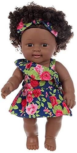 N-K Puppen Schwarz 12 Zoll Mädchen Jungen 22 Zoll Afrikanische Schwarze Puppen Realistische Neugeborene Puppen Amerikanische Puppen für Kinder und Mädchen Urlaub Geburtstagsgeschenke Nettes Design