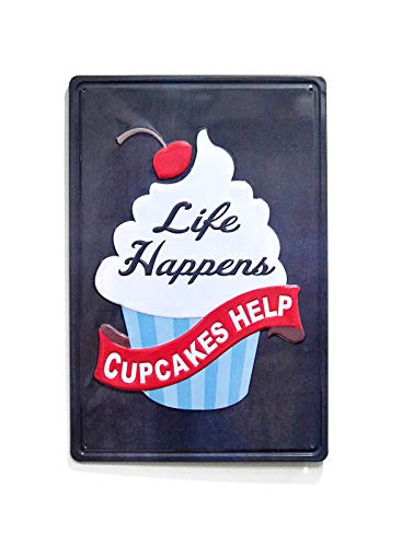 NaCraftTH [Cupcakes Help Sweet Cake Metal Iron Tin Sign Retro Vintage Wall Art Hanging Restaurant Cafe Home Decor, 8'x12'