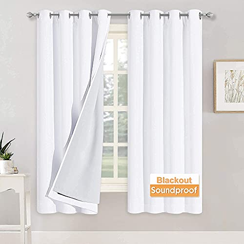 RYB HOME Blackout Curtains with Felt Fabtic Liner for Sound...