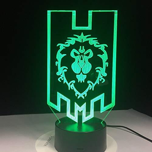 lampara 3D Pared Lights World Alliance Tribe Christmas 7 Cambios de Color Interruptor táctil y Remoto Navidad