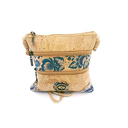 Joao Afonso Handtasche, klein, leicht, braun, beige, Kork-Druck, Damen, Mädchen, praktisch, elegant, mehrere Taschen, leicht zu reinigen