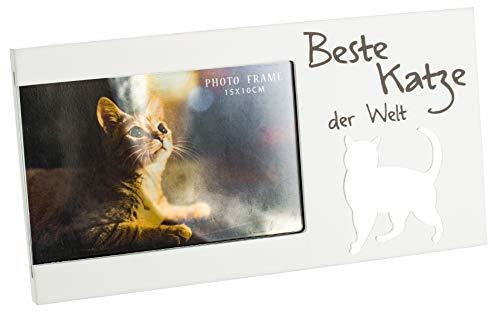 Brandsseller Bilderrahmen Fotorahmen mit Spiegelherz 25x13x1,5 cm Beste Katze der Welt