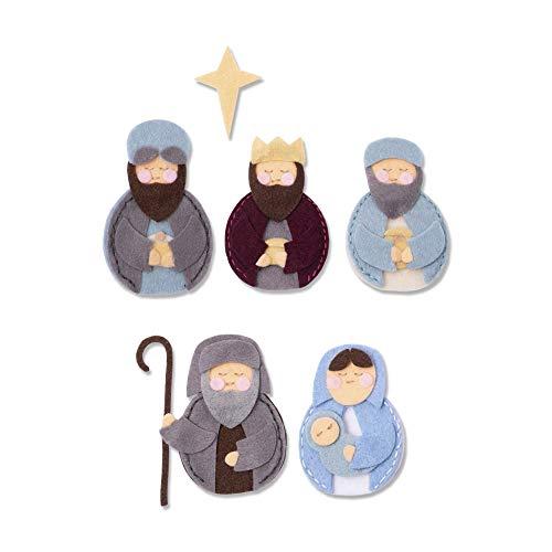 Sizzix Fustella Spessa in Acciaio Bigz L Natività con Maria, Giuseppe, Gesù e Re Magi, Multicolore